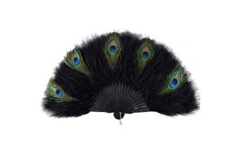 (Z - Black Rib Peacock) - ArtiDeco 1920s Marabou Feather Fan Flapper Folding Hand Fans Feather Fan Handheld for 20s Vintage Gatsby Party (Black Rib Peacock)