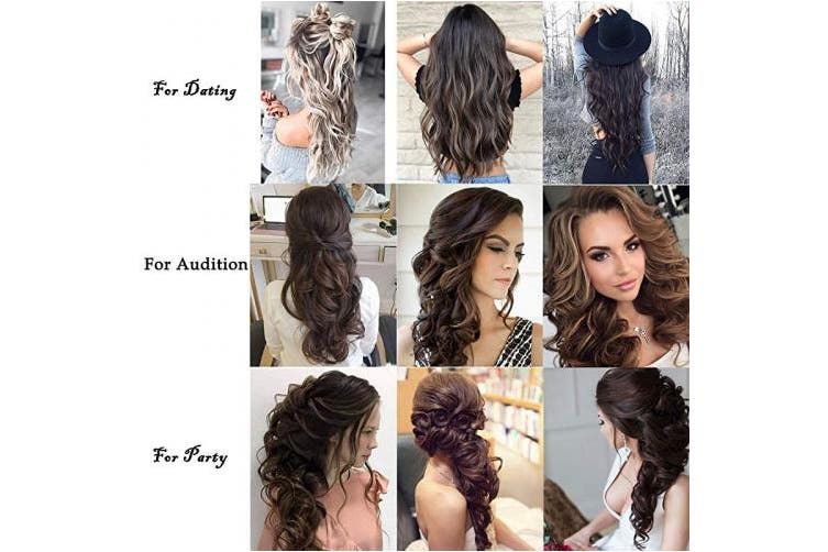 (60cm -Curly, Natural Black Mix Silver Grey-Curly) - Clip in Hair Extensions 7Pcs 16 Clips 22 60cm Curly Straight Thick Double Weft Hairpieces for Women
