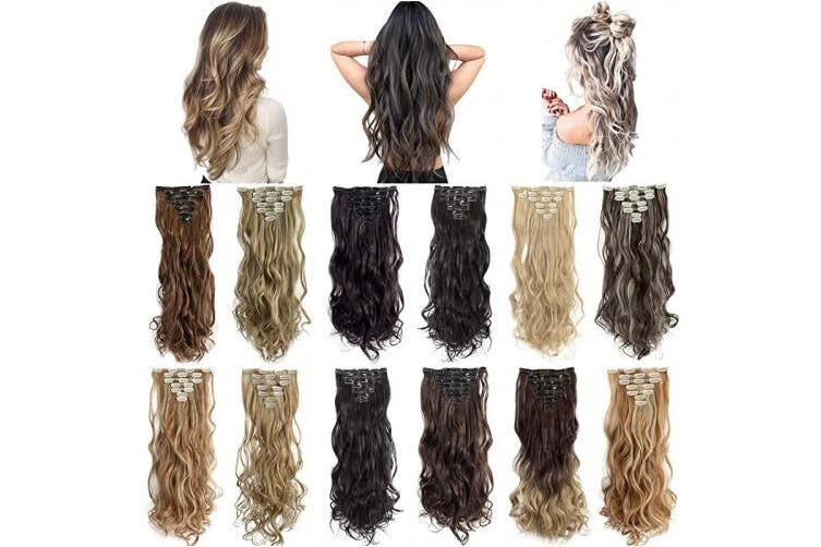 (60cm -Curly, Dark Brown Mix Ash Blonde-Curly) - Clip in Hair Extensions 7Pcs 16 Clips 22 60cm Curly Straight Thick Double Weft Hairpieces for Women
