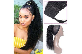 (46cm , Curly, Wrap Around) - Curly Human Hair Strap Ponytail Extensions, 100% Unprocessed Brazilian Virgin Hair Wrap Around Ponytails, Magic Paste with Comb Clip in Kinky Curly Pony Tail (46cm , Curly Hair)