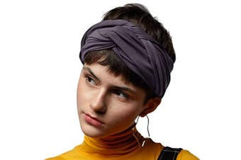 (Charcoal) - BLOM Long Hug Head Wrap. Use as a Wrap, Headband, or Scarf. Premium Soft Jersey. (Charcoal)