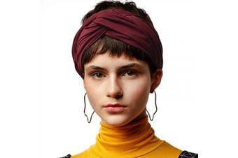 (Maroon) - BLOM Long Hug Head Wrap. Use as a Wrap, Headband, or Scarf. Premium Soft Jersey. (Maroon)
