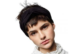 (Black) - BLOM Long Hug Head Wrap. Use as a Wrap, Headband, or Scarf. Premium Soft Jersey. (Black)