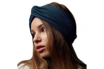(Dark Teal) - BLOM Long Hug Head Wrap. Use as a Wrap, Headband, or Scarf. Premium Soft Jersey. (Dark Teal)