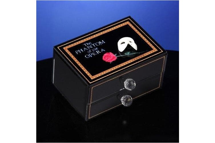 Phantom of the Opera Mask and Rose Glass Musical Drawer Box Multi-Coloured
