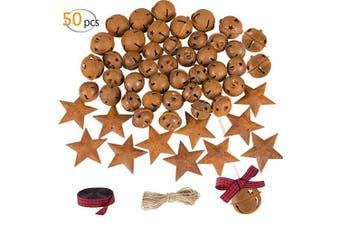 Alphatool 50Pcs Rusty Metal Jingle Bells and Stars- Star Cutout Christmas Sleigh Bells 30pcs 2.5cm and 10pcs 3cm Bells, 10pcs 4.6cm Stars with Twine Plaid Ribbon for Xmas Holiday Decor DIY Craft