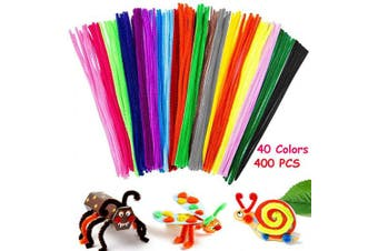 Aisonbo 400 Pcs Pipe Cleaners 40 Colours Chenille Stems for DIY Arts and Craft Projects and Decorations (6 mm x 12 Inch)
