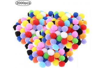 Coobbar 2000 Pieces Pompoms Balls Mini Assorted Pom Poms Multicolor Soft Fuzzy Pompom Balls for Christmas DIY Crafts Making
