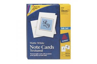 (1, White) - Avery Printable Note Cards, Inkjet Printers, 50 Cards and Envelopes, 4.25 x 5.5, Heavyweight, Textured (3379)