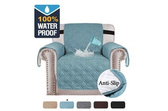 (1 Seater: 53cm, Smoke Blue) - BellaHills Waterproof Chair Cover for Dogs Luxurious Quilted Furniture Protector Non-Slip Chair Slipcover Chair Protector Machine Washable (One Seater - Smoke Blue)