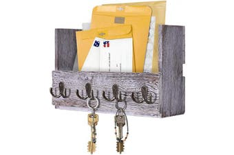(Rustic White) - Comfify Wooden Wall Mount Mail Holder Organiser – Rustic Key Holder Organiser for Wall – Magazine Holder with 4 Double Key Hooks – Distressed White Rustic Wall Décor for Entryway
