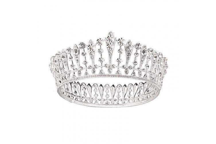 (Silver) - SWEETV Silver Wedding Queen Crown for Women, Crystal Pageant Tiara Headband, Princess Crown Hair Accessories for Bride, Bridal Party Birthday Headpieces