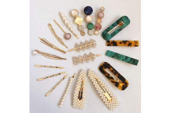 (Set C 21Pc) - BSEKT 2020 Statement Hair Clips, Pearl Hair Clips, Words Letter Hair Pins, Acrylic Resin Geometric Hair Barrettes, Rhinestones Crystal Bobby Pins, Bling Dollar Sign for Women Girls (Set C 21Pc)