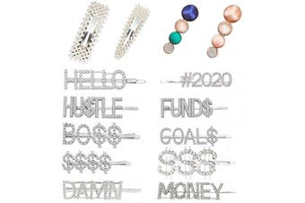 (Silver 14Pc 2020) - BSEKT 2020 Statement Hair Clips, Pearl Hair Clips, Words Letter Hair Pins, Acrylic Resin Geometric Hair Barrettes, Rhinestones Crystal Bobby Pins, Bling Dollar Sign for Women Girls (Silver 14Pc 2020)
