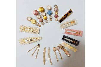 (Set A 21Pc) - BSEKT 2020 Statement Hair Clips, Pearl Hair Clips, Words Letter Hair Pins, Acrylic Resin Geometric Hair Barrettes, Rhinestones Crystal Bobby Pins, Bling Dollar Sign for Women Girls (Set A 21Pc)