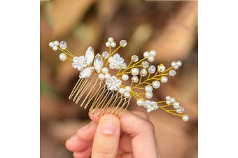 (Gold) - Asooll Wedding Crystal Hair Comb Bride Headpieces with Pearl Bridal Hair Accessories for Women and Girls (Gold)