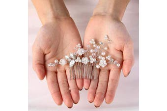 (Silver) - Asooll Wedding Crystal Hair Comb Bride Headpieces with Pearl Bridal Hair Accessories for Women and Girls (Silver)