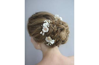 (Flower Hair Comb) - AW BRIDAL Flower Hair Comb Wedding Hair Piece Crystal Bridal Hair Barrette Headpiece Hair Accessories for Women, Rose Gold