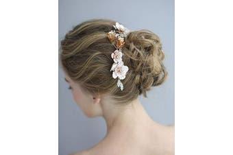 (Headband) - AW BRIDAL Floral Wedding Headpiece Hair Vine Bridal Hedband Rose Gold Forehead Band Hair Accessories for Brides Women