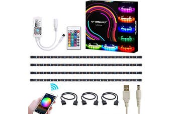 (Usb Rgb Wifi Smart Tv Backlights) - WOWLED WiFi Smart USB RGB LED TV Backlight Strip, Compatible with Alexa and Google Home, 4pcs Flexible RGB 5050 Strips Light DC 5V, Colour Changing Dimmable RGB LED Strip IP65 (2.4 GHz)