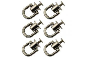 (Nickel) - Youliang 6pcs D Ring Buckle 360 Degree Rotate Round Head Nail Rivet Chicago Stud Button 21x16mm Nickel Colour