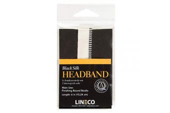 (15cm , Black) - Lineco Black 15cm Silk Head Band. Finishing Touch for Bound Books. Bookbinding, DIY, Crafts, Projects, Journals, Scrapbooking, Book Decor.