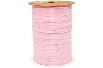 Morex Ribbon 100% Rayon Matte Raffia Biodegradable Ribbon, Pink, 0.6cm x 100 Yd