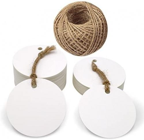 "(White) - Circle Tags,100 Pcs Blank Kraft Paper Tags and 30m Jute Twine,5.5cm Gift Tags for Craft Projects,Gifts Wrapping,DIY Wedding Favour (White) Colour: White Great for wedding wishes tags, parties favour tags, price tags, gift tags etc. DIY your gifts with this round kraft paper labels These tags are sturdy, made from ""kraft"" card and come with jute twine to tie them onto whatever you are labelling. Package: 100PCS Kraft Paper Tags with 30 Metres Jute Twine."