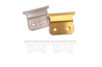 (2T + Gold/Sliver Blade) - Carbon Steel T outliner blade with Ceramic T outliner balde for andis t outliner, andis gtx replacement blade with adjustable Accessries. (2T + 2 Gold Blade)
