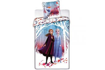 Disney Frozen 2 Princess Elsa and Anna Twin Duvet Cover 140cm x 200cm and Pillow Cover 60cm x 60cm