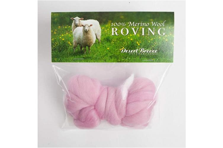 (Pink) - Merino Wool Roving, Premium Combed Top, Colour Pink, 21 Micron, Perfect for Felting Projects, 100% Pure Wool, Made in The UK