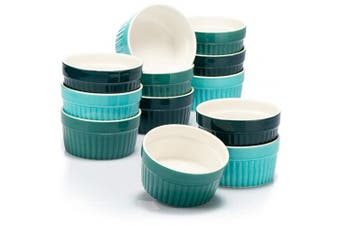 (Green - 12 Pieces, Ø 9cm) - COM-FOUR® 12x Ceramik Ramekins - ovenproof Soufflé Dishes - Creme Brulee Ceramic Bowls - Ramekin Dishes and Pate Moulds for eg Ragout fin - Each 200 ml - in Different Shades of Green