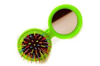 (Floding brush, Green Folding brush) - Travel Makeup Hair Brushes Pop up Folding Hair Brush Gifts for Women Pocket Wet Magic Round Hair Comb Mirror (Floding brush, Green)