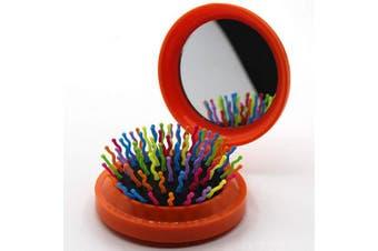 (Floding brush, Light Orange) - Travel Makeup Hair Brushes Pop up Folding Hair Brush Gifts for Women Pocket Wet Magic Round Hair Comb Mirror (Light Orange)
