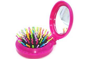 (Floding brush, Folding Pink hair brush) - Mini Travel Makeup Hair Brushes Folding Hair Brush Gifts for Women Pocket Wet Magic Round Hair Comb Mirror (Pink)
