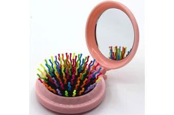 (Floding brush, Light Pink) - Travel Makeup Hair Brushes Pop up Folding Hair Brush Gifts for Women Pocket Wet Magic Round Hair Comb Mirror (Floding brush, Light Pink)