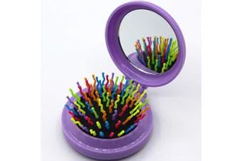(Floding brush, Light Purple) - Travel Makeup Hair Brushes Pop up Folding Hair Brush Gifts for Women Pocket Wet Magic Round Hair Comb Mirror (Floding brush, Light Purple)