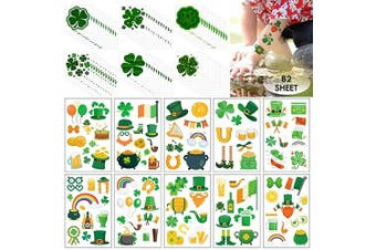 (82 Sheets) - 82 Sheet St. Patrick's Day Temporary Tattoos Sticker, COKOHAPPY 168pcs Body Temporary Tattoos Decorative Stickers for Saint Patrick's Day Party Favour Decoration