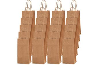 Cooraby 50 Pieces Mini Brown Kraft Paper Party Bags 3.54 x 6cm x 18cm Small Gift Bag Party Bags with Handle for Birthday Wedding Parties