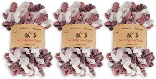 (Hermes) - BambooMN Finger Knitting Yarn - Fun Finger Loops Yarn - 100% Polyester - Hermes - 3 Skeins Colour: Hermes