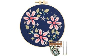 (Pink Flowers) - Embroidery Starter Kit with Pattern, Cross Stitch Kit Include Stamped Embroidery Clothes with Floral Pattern, Plastic Embroidery Hoops, Colour Threads and Tools Needlepoint Kits (Pink Flowers)