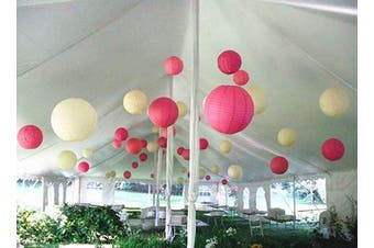 """(Hot Pink and Ivory, 24(14x 8"""" + 10 x 12"""")) - A Liittle Tree A Mixed Paper Lanterns Hot Pink Ivory 24(14x8+10x12)"""