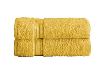 (Mustard, 2 X Bath Sheets) - Divine Textiles Fade Resistant Towel Set 100% Egyptian Cotton 500 GSM, 2 X Bath Sheets - Mustard