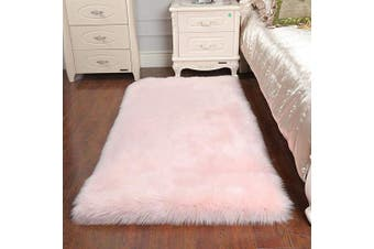 (Pink, 80cm  x 180cm ) - AUFELL Faux Sheepskin Rug ,Rectangular,Fur Faux Fleece Fluffy Area Rugs Anti-Skid Yoga Carpet for Living Room Bedroom Sofa Floor Rugs (Pink, 80cm x 180cm )