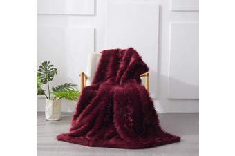 (Plum, 130x180cm) - Plum Faux Fur Throw Blanket, Ultra Soft with Long Pile & Black Brushed TipsShaggy & Fluffy Throw Rug, Plush Fuzzy Blanket for Bed Couch Sofa Chair Home Accent, 130x180cm