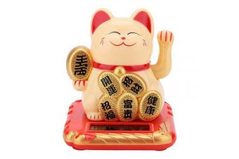 (Yellow Fortune Cat) - Zerodis Solar Powered Maneki Neko Lucky Cat Welcoming Cat Adorable Waving Beckoning Fortune Black Gold White for Home Car Decor(Golden)