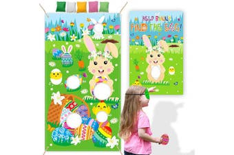 (Bunny Toss Games Banner) - CiyvoLyeen Easter Games Kit, Bunny Toss Games Banner Beanbags Cornhole Game Pin The Egg Game Help Bunny Find The Egg Large Poster for Kids Adults Family School Indoor Outdoor Party Ideas