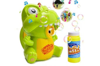 (Green) - AINOLWAY Dinosaur Bubble Machine Toys for Kids, Automatic Bubble Blower for Party Wedding Birthday with 120ml Bubble Solution (Green)