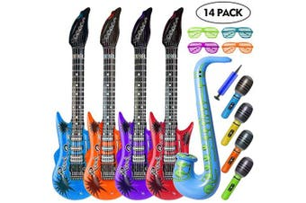 AISHN Inflatable guitar, Inflatable Toy Set, Inflatable Microphones and Saxophone, Shutter Shading Glasses party favours for kids, 14 Pieces Inflatable Party Props