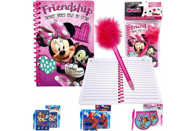 (Minnie Note and Pen) - Kids Girls Disney Minnie Basic Stationery Gift Set - Spiral Lined Page Journal Memo Notebook Diary Pad with Pen for Back to School Supplies Birthday Goodies Stocking Suffers